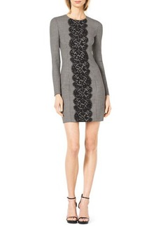 Michael Kors Lace-Front Fitted Houndstooth Dress