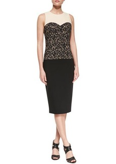 Michael Kors Lace-Print Bodice Dress