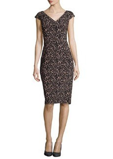 Michael Kors Lace-Print V-Neck Sheath Knee-Length Dress, Black/Nude