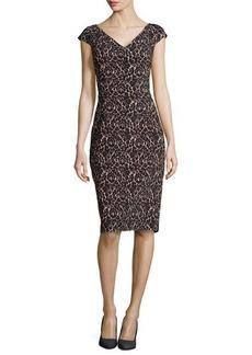 Michael Kors Lace-Print V-Neck Sheath Knee-Length Dress, Black/Nude