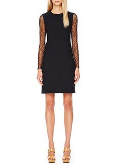 Michael Kors Lace-Sleeve Crepe Dress, Black