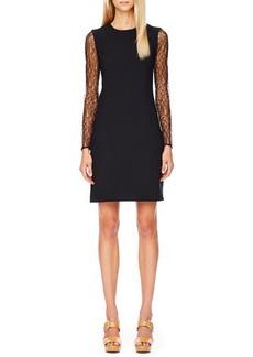 Michael Kors Lace-Sleeve Crepe Dress, Black