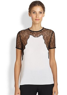 Michael Kors Lace-Trimmed Silk Tee