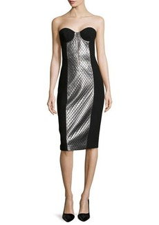 Michael Kors Lame-Panel Strapless Dress