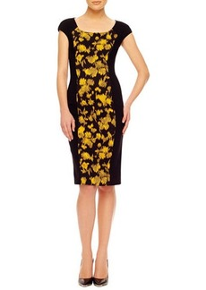 Michael Kors Leaf-Print Fitted Dress