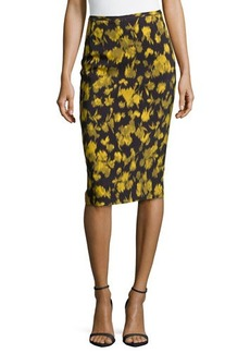 Michael Kors Leaf-Print Pencil Skirt