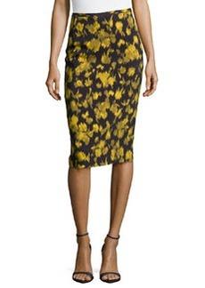 Michael Kors Leaf-Print Pencil Skirt