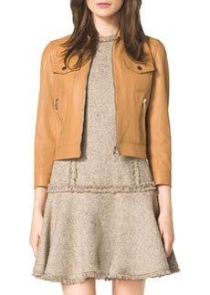 Michael Kors Leather 3/4-Sleeve Jacket