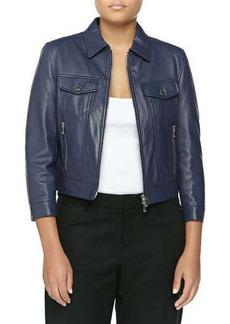 Michael Kors Leather 3/4-Sleeve Jacket, Indigo