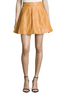 Michael Kors Leather A-Line Skirt, Peanut