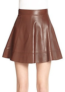 Michael Kors Leather Flare Skirt