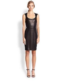 Michael Kors Leather-Insert Ponte Sheath Dress