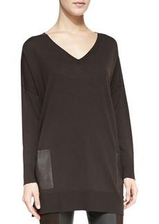 Michael Kors Leather-Pocket V-Neck Tunic