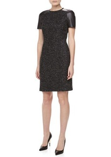 Michael Kors Leather-Sleeve Tweed Dress