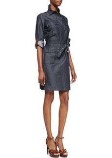Michael Kors Leather-Trim Cargo Shirtdress