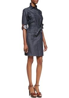 Michael Kors Leather-Trim Cargo Shirtdress