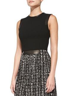 Michael Kors Leather-Trim Combo Dress