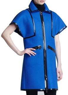 Michael Kors Leather-Trim Sculpted Coat