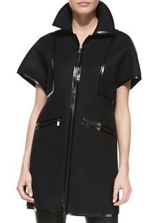 Michael Kors Leather-Trim Sculpted Coat, Black