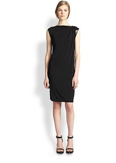 Michael Kors Leather-Trimmed Jersey Dress