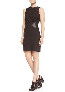 Michael Kors Leather-Waist Crepe Dress