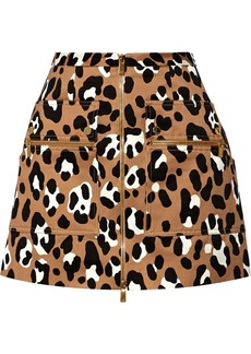 Michael Kors Leopard-print cotton-satin mini skirt