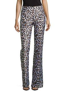 Michael Kors Leopard-Print Flared Trousers, White Multi