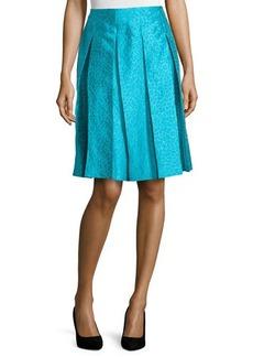 Michael Kors Leopard-Print Pleated Skirt, Aqua Multi