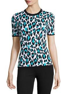 Michael Kors Leopard-Print Short-Sleeve Knit Top