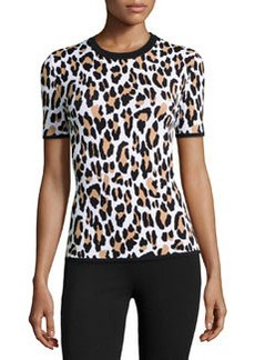Michael Kors Leopard-Print Short-Sleeve Knit Top, Suntan