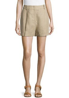 Michael Kors Linen Serge Pleated Shorts, Hemp