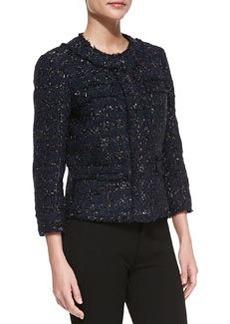 Michael Kors Liquid Tweed Jewel-Neck Jacket, Midnight