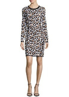 Michael Kors Long-Sleeve Animal-Print Sheath Dress