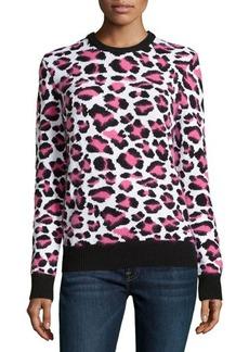 Michael Kors Long-Sleeve Animal-Print Sweater, Carnation Multi