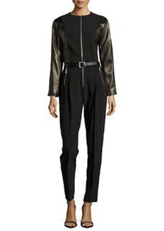 Michael Kors Long-Sleeve Belted Jumpsuit W/ Leather