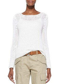 Michael Kors Long-Sleeve Boat-Neck Sweater, Optic White