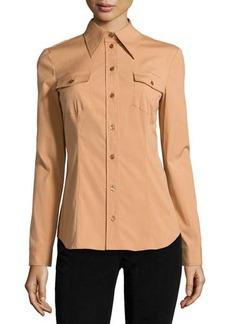 Michael Kors Long-Sleeve Button-Down Shirt, Suntan