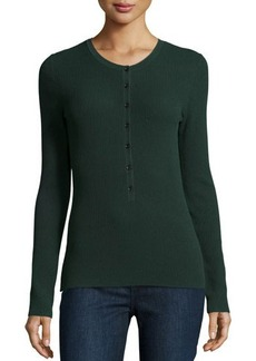 Michael Kors Long-Sleeve Button-Front Henley Top