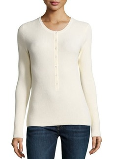 Michael Kors Long-Sleeve Button-Front Henley Top