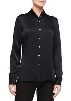 Michael Kors Long-Sleeve Button-Front Shirt, Midnight