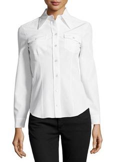 Michael Kors Long-Sleeve Button Silk Shirt, White