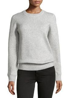Michael Kors Long-Sleeve Cashmere-Blend Sweatshirt, Pearl Melange