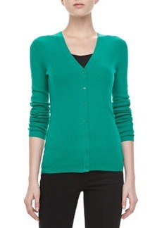 Michael Kors Long-Sleeve Cashmere Cardigan, Emerald