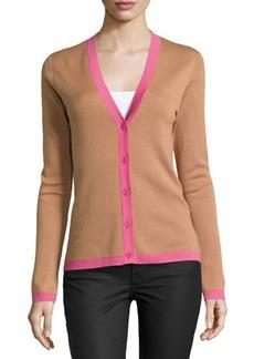 Michael Kors Long-Sleeve Cashmere Cardigan with Contrast Trim, Suntan Multi