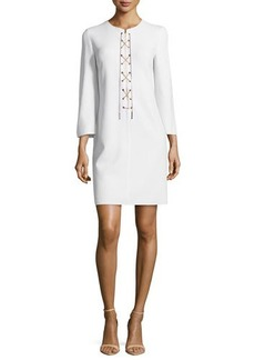 Michael Kors Long-Sleeve Chain-Front Tunic Dress, White