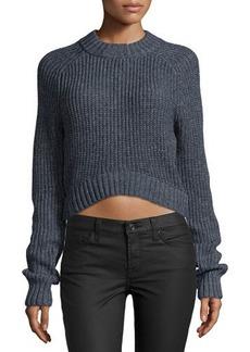 Michael Kors Long-Sleeve Cropped Shaker Sweater