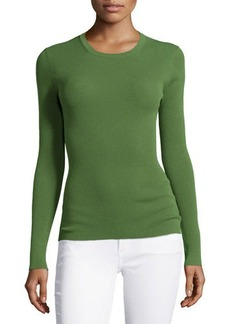 Michael Kors Long-Sleeve Fitted Top, Grass