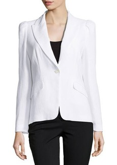 Michael Kors Long-Sleeve Jacket with Puffed Shoulders, Optic White