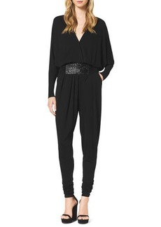 Michael Kors Long-Sleeve Jersey Jumpsuit