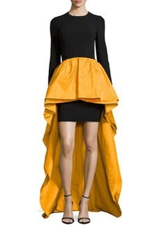 Michael Kors Long-Sleeve Knit & Taffeta Peplum Gown